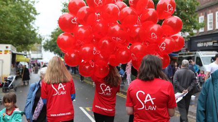 Staff from SA Law handed out balloons to visitors.Picture: Craig Shepheard