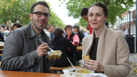 A young couple enjoy their food at the St Albans Food and Drink Festival 2017Picture: Craig Shephe