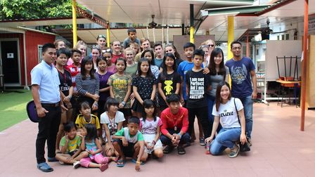 BVC students with those from a Burmese school in Malaysia. Picture: BVC