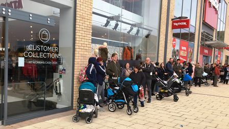 The queue outside the new Next store in Huntingdon.