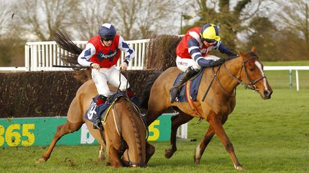 Final fence drama in the 188Bet Cambridgeshire National at Huntingdon Racecourse earlier this year a