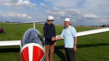 Solo pilot Jake Emms with his grandfather.