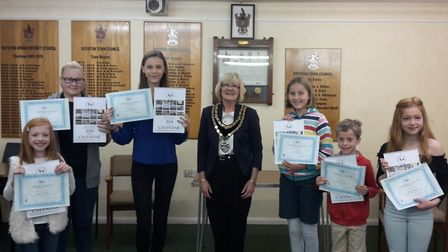 The Naturally Royston photography competition winners with mayor Vera Swallow.