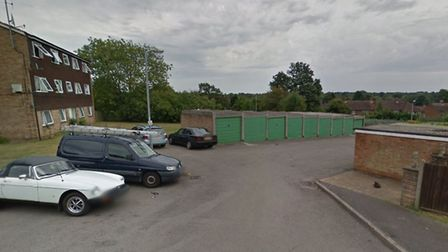The garage site on Holyrood Crescent which St Albans council wants to build on. Photo: GOOGLE