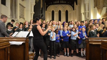 The combined schools' choir. Picture: Terry Hartga