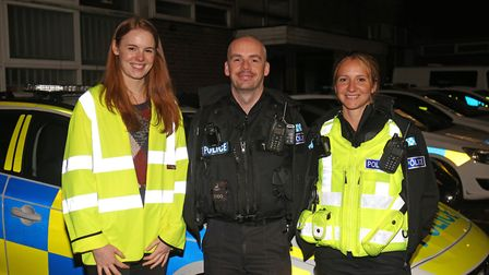 Herts Advertiser reporter Franki Berry with St Albans PC's Lee Hammond and Katie Rance. Picture: Dan