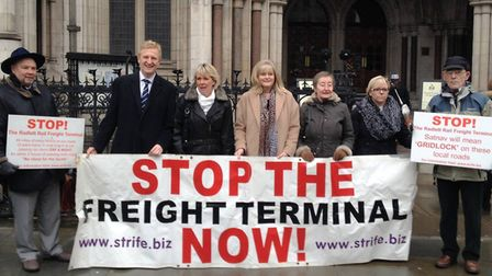 Oliver Dowden and Anne Main at Rail Freight protest.