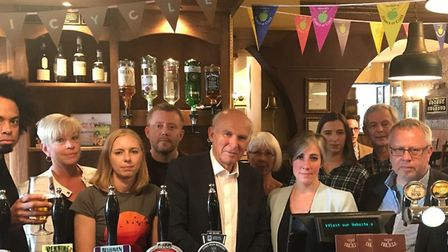 Vince Cable (centre), Daisy Cooper (to the left of Cable) and Liberal Democrat business rates campai