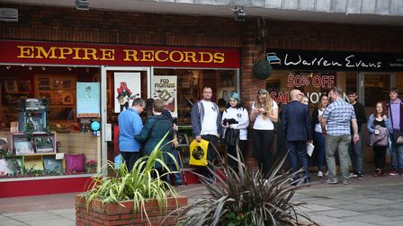 Fans queue outside Empire Records as St Albans band Enter Shikari hold a record signing for their ne