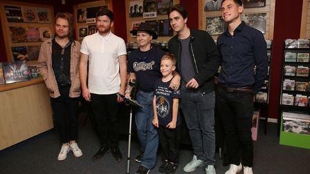 St Albans band Enter Shikari pose with fans during a signing of ther new album The Spark at Empire R