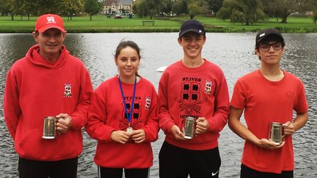 Successful St Ives rowers are, from the left, Paul Ashmore, Jess Hasted, Sam Hasted and Rory Crouch.