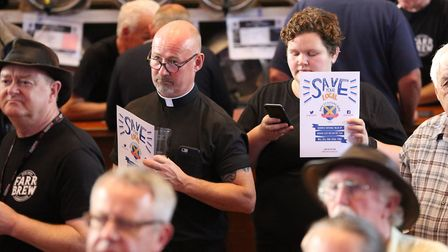 """Supporters of the """"Save Your Local"""" campaign at the St Albans beer and cider festival. Picture: Dann"""