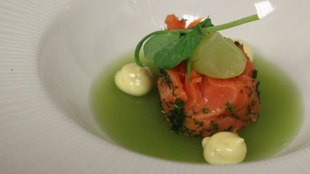 Salmon mi-cuit, with cucumber jelly and pea shoots, from The Stables restaurant at Oaklands College.