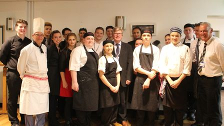 Students from The Stables restaurant with St Albans deputy mayor Jamie Day.
