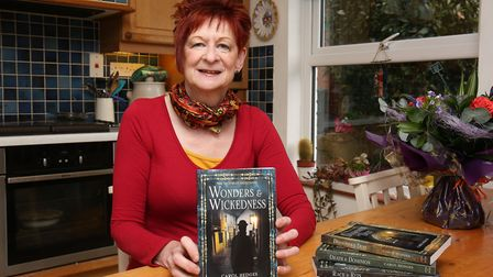 Author Carol Hedges with her latest book in her Victorian detectives book. Picture: Danny Loo