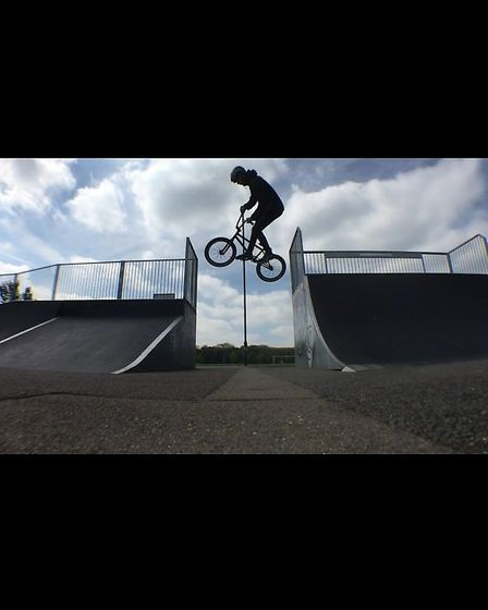BMX rider Grady Russell using the ramps.