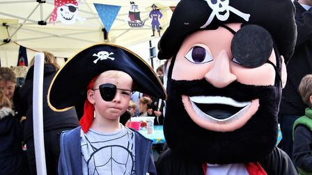 Philip Naylon with his new pal at Royston's Pirate Day. Picture: Clive Porter