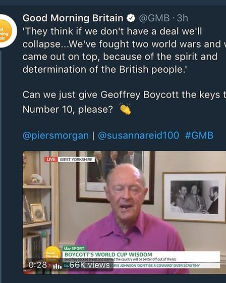 In a tweet that now appears to have been deleted, Good Morning Britain applauded Geoffrey Boycott fo