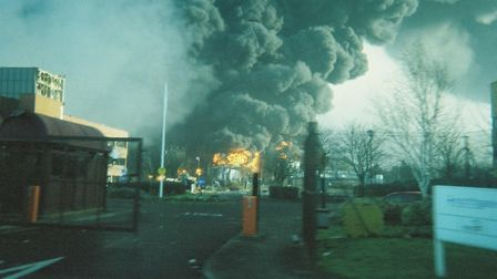 The Buncefield fire - courtesy Herts Fire and Rescue Service.