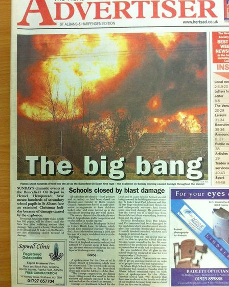 The Herts Advertiser reports on the Buncefield Oil Storage Terminal disaster 10 years ago in Hemel H