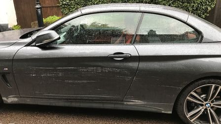 Scratches to a car on Sopwell Lane.