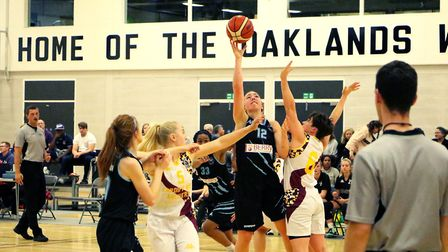 New Candaian signing Kellie Ring looks for a lay-up as Oaklands Wolves faced Cardiff Met Archers in