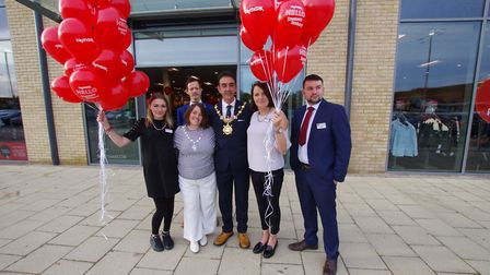WELCOMED: Mayor of Huntingdon Cllr Jay Dyne, Mayoress Cllr Sonia Dyne and TK Maxx staff at the openi