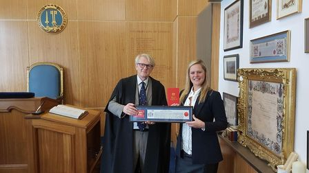 Anne Timpany receiving the Freedom of the City of London in The Worshipful Company of Plumbers at th