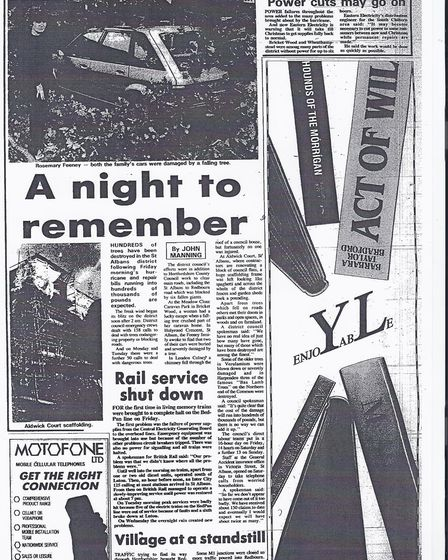 The Herts Advertiser article on the storm from 1987.