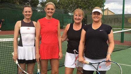 The Ladies Doubles finalists at St Neots Tennis Club are, from the left, Othelia Agar Stallbom, Kris