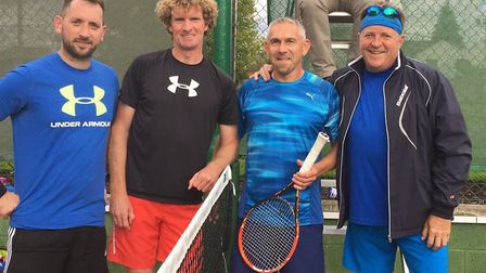 The players who took part in the Men's Doubles final at St Neots Tennis Club are, from the left, Jon