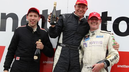 Rupert Deeth on the top step of the podium after one of his victories at Snetterton. Picture: GARY M