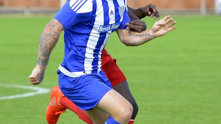 Action from the FA Cup preliminary round draw between Eynesbury Rovers and Peterborough Sports. Pict