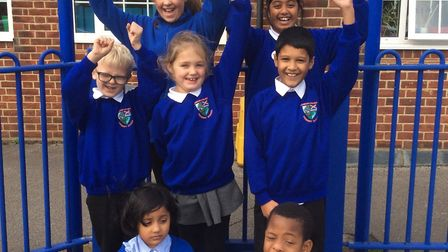 London Colney pupils celebrating their Ofsted report.