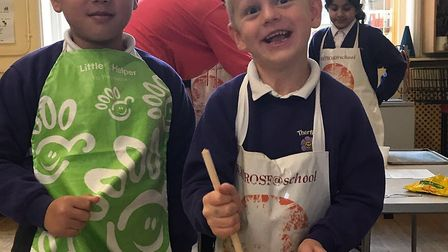 Murat Babayev and Lucas Thirlwell enjoyed making the sweet treats.. Picture: Therfield First School