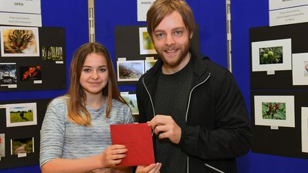 Annabel Harrison, winner of the 10-16 category, with Daniel Mansfield.