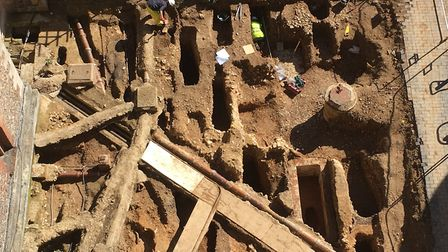 Aerial view of the dig at St Albans Cathedral.