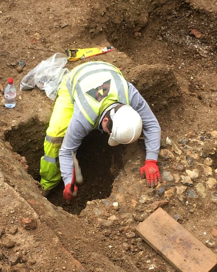An archaeologist working on the dig at St Albans Cathedral.