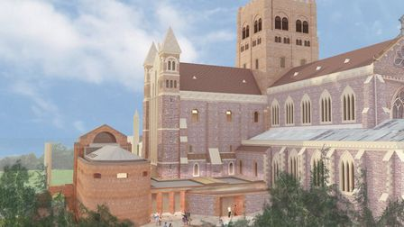 An artist's impression of the new welcome centre at St Albans Cathedral.