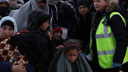 Sarah Wade at refugee camps in France.