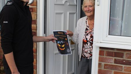 SAFETY: Sgt Paul Street offers advice and posters to vulnerable residents