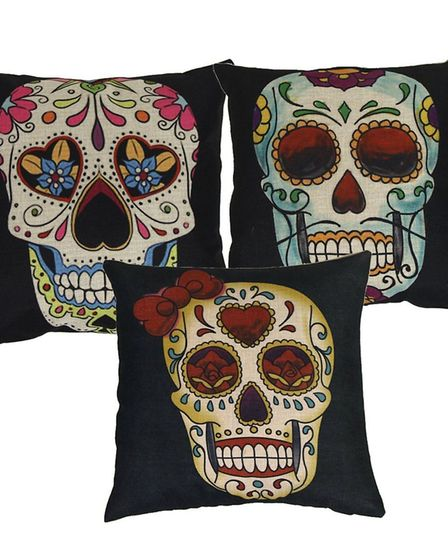 Luxbon, set of three Day of the Dead cushion covers, £10.06 [Amazon/PA Photo/Handout]