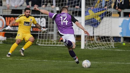 Charlie Walker prepares to fire the ball towards goal. Picture: LEIGH PAGE