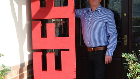 BLOOD: Jeff Pike with the sculpture used in the lymphoma campaign in London