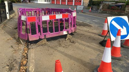 ROAD UP: A burst water main caused disruption to traffic in Huntingdon town centre