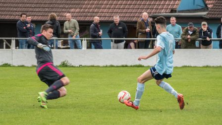 Godmanchester Rovers frontman Matty Allan is denied. Picture: J BIGGS PHOTOGRAPHY