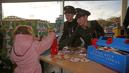 Sandridge School pupils at Morrisons selling poppies for the Royal British Legion. Picture: Danny Lo