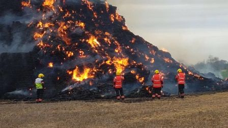 STACK: Firefighters tackle the straw fire at Great Stukeley