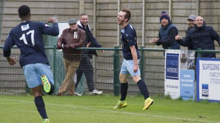 Tom Meechan celebrates his goal which completed St Neots Town's comeback against Corby Town in the F