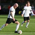 Tuesday scorer Scott Bridges lines up a shot against Enfield Town on Saturday. Picture: Danny Loo